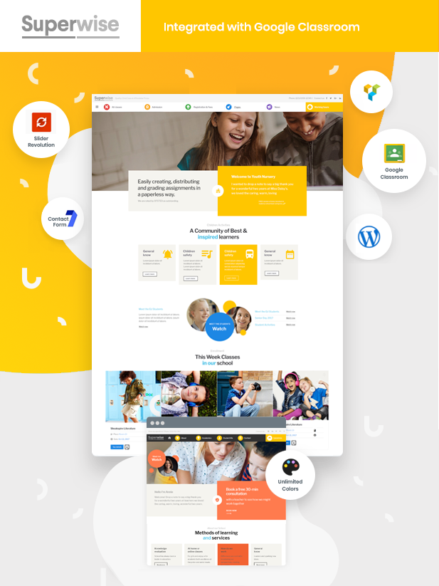 Superwise – Modern Education and Google Classroom Theme (Education)